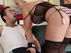 Blonde Britney Skye sucking off some dick