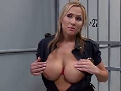Inmate Keiran getting handjob from big tits Alanah Rae
