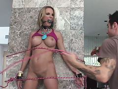 Milfs arms and legs are all tied down