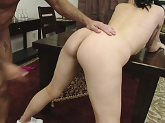Babe bends over to receive a cock in her anus