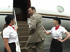 Getting on the plane with sexy flight attendants