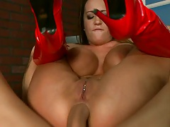 Reverse cowgirl anal with cock poping out