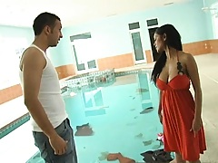 Hot milf decides to get a little more out of her poolboy