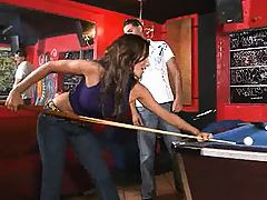 Hot itallian chick plays some pool and hard to get
