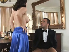 Hot big tits brunette milf rides cock by the dinner table