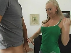 Teen sits down and sucks and takes off her panties