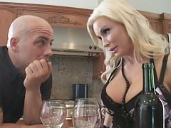 Diamond fucks her husbands friend in dinning room