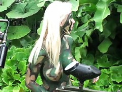 Chicks crowing in the bushes playing some paintball