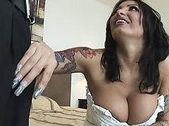 Busty fiance pulls down pants and gets dick out