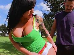 Big tits Mason in a tight green tank top