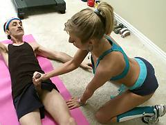 Hot Gym instructor is helping an old men get it up