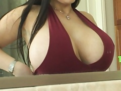 Huge titted cick get dressed infront of mirror