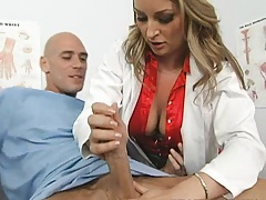 Busty doctor gets horny by her new patien