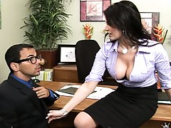 Busty hottie takes her shirt off at the office