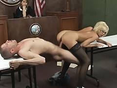Hot babes ass bounces on cock in front of judge