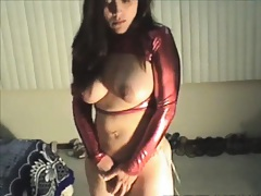 Nice tug blow job from a big tits babe in latex red shit