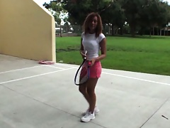 Cute teen babe was playing some tennis outdoors