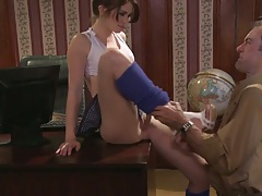 Small tits Ashlyn Rae called back to the teachers office for sexual favours