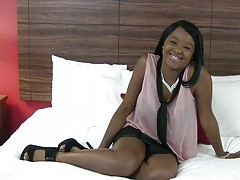 Ebony teen Christie Sweet solo posing and stripping