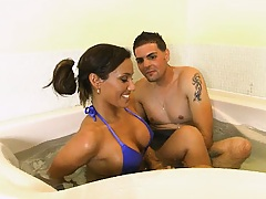 itallian hottie takes a jacuzzi with us and goes to suck