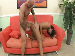 Sexy latina slut shafted on the red couch