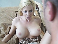 Blonde milf with big tits nailed on the bed