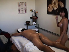 Jade oiling up the guy for a nice massage