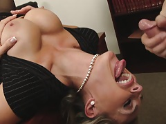 Big tits slut sucks cock reverse angle on desk