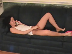 Teen touching her pussy during phone sex