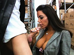 Busty babe gets rammed in the storage room