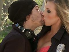 Cop in uniform Samantha Saint making out on car