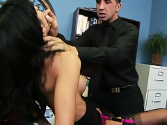 Brunette big tits Gia blow job and eep throat