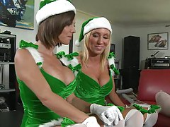 Two sexy milfs santas cock helpers