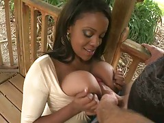 Ebony babe with natural big boobs sucking dick outdoors