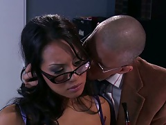 Hot asian student Asa is stressed in the office