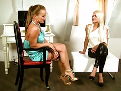 Silvia Saint and Lena Love lesbian casting interview and stripping