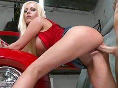 Hot mil fucked upskirt on a car and sits on cock