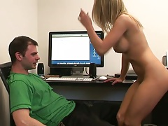 Guy working at the office gets a naked medium tits Aubrey Adams for pov handjob