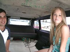 Cute teen with small tits in tank top on bangbus