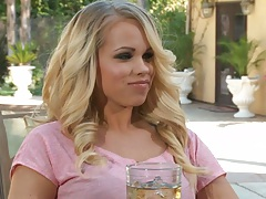 Blonde Chanel Preston having a drink outdoors then hitting a strange club