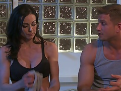 Brunette Kendra Lust undressing showing amazing body and tits