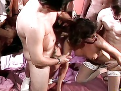 Doggy style sex for natural tits brunette Deborah Wells with mouthful ejaculation