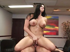 Reverse cowgirl Mackenzee Pierce jumping on cock