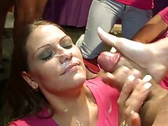 Dancing bear facial cumshot on hot dressed female at party