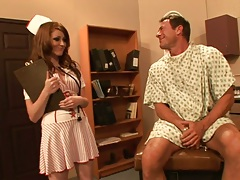 Nikki Rhodes approaches patient and gives him a suck down