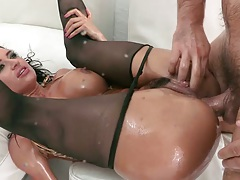 Franceska sits on cock and time for anal with oil