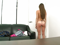Jennifer Blaze undressing during audition to the skin