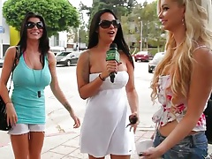 Outdoor group of big tits babes interview