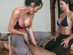 Cfnm busty yoga sluts fucking the instructor