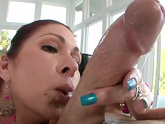 Tiffany Mynx sucking and jerking dick head then some titty fuck with oil